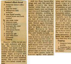 Peasant's Black Bread. :: Historic Recipe