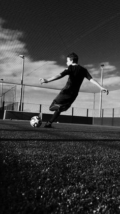 Striking the ball.
