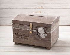 Wedding Card Box with Slot Rustic Wedding Card Box Personalized Box Large Wooden Card Box Gift Card Box Wooden Chest Memory Box Lock Key by InesesWeddingGallery on Etsy
