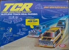 """TCR - Total Control Racing - NO slots on this slot car track, so the cars could change lanes with a flick of the switch. I had the set with the cool 70's vans, and the slow """"JAM CAR"""" obstacle pick-up truck."""