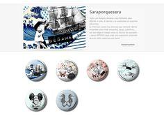 Colección de chapas que Sara expuso en la primera convocatoria de ARTtoGo organizada por PinPonGo