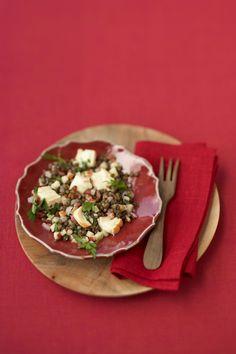 Délicieuse salade au lard, aux noix et au fromage Tacos, Mexican, Ethnic Recipes, Desserts, Food, White Wine Vinegar, Lentil Salad, Cheese, Grilling