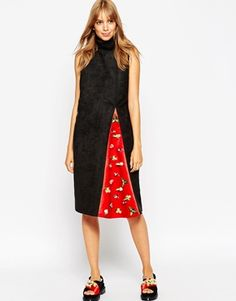 A V Robertson for ASOS BLACK Funnel Neck Dress With Embellished Insert