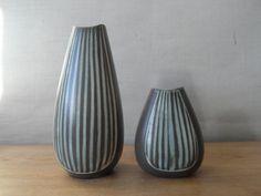 Vintage Scandinavian  pair of vases  grey / stripes by danishmood
