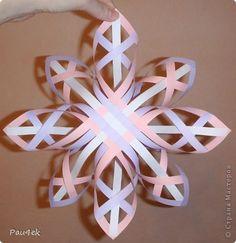 Мастер-класс Поделка изделие Новый год Бумагопластика Моделирование конструирование Снежинка в объеме МК Бумажные полосы Клей фото 1