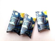 6 Doctor Who Inspired Police Box Gift Boxes, Starry Night with the TARDIS, Christmas Pillow Box. $6.00, via Etsy.