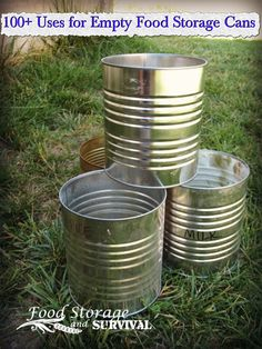 Don't throw away those empty cans before you check out these great uses for empty food storage cans! 101 Uses for Empty Food Storage Cans Camping Survival, Survival Prepping, Emergency Preparedness, Survival Skills, Wilderness Survival, Survival Stuff, Survival Blog, Emergency Preparation, Survival Hacks