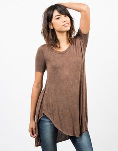 Acid Washed Flowy Top - Red Top - Brown Shirt – 2020AVE