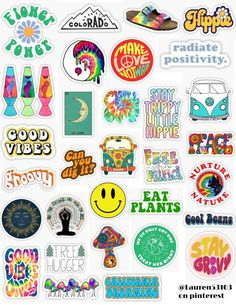 Hippie Sticker Pack Hippie sticker pack hippie stickers hippie positivity earth eat plants patterns tiedie make lov Stickers Cool, Tumblr Stickers, Phone Stickers, Printable Stickers, Retro Wallpaper, Wallpaper Desktop, Wallpaper Backgrounds, Macbook Wallpaper, Nature Wallpaper