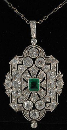 *** Fantastic discounts on fine jewelry *** John Joseph Pendants Platinum set emerald and diamond deco fine pendant