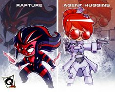 Rapture and Agent Huggins Drumfish Productions Characters