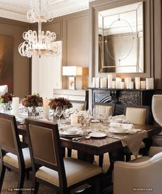 neutral walls, and nice lines on the table and chairs