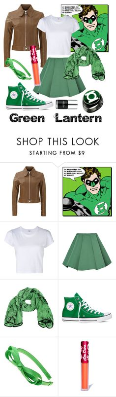 """Green Lantern"" by lulu-the-guinea-pig ❤ liked on Polyvore featuring Carven, RE/DONE, Structured Green, Converse, L. Erickson, Nails Inc. and Lime Crime"