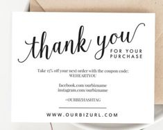 Use these pretty social media business cards to encourage your instant business thank you cards editable pdf printable packaging inserts for online shops etsy sellers calligraphy style amelia reheart Choice Image