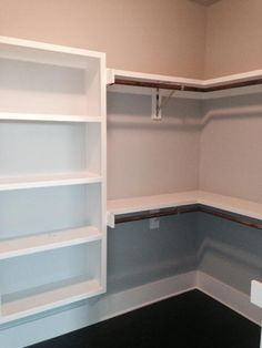 "Love the floating shelves.no dust from floor! Notice extension ""ears"" for closet poles Closet Redo, Bedroom Closet Design, Master Bedroom Closet, Closet Designs, Closet Ideas, Closet Renovation, Closet Remodel, Closet Shelves, Closet Storage"