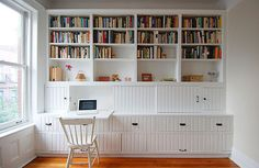 shelving and fold-down desk