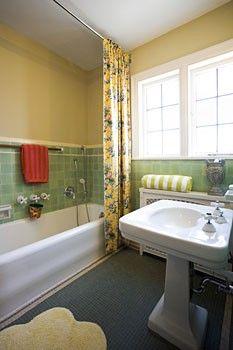 Retro Bathroom Makeovers mint green tiled bathroompainted tileelegant vintage remodel