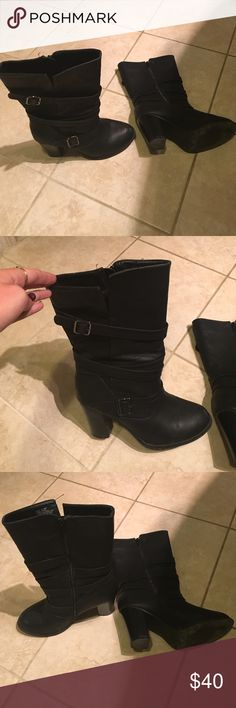 Apt. 9 midcalf boot Very stylish mid calf boot, worn 3 times. The opening at top can fit a variety of sizes of calfs. Very cute and comfy. Block heel Apt. 9 Shoes Heeled Boots
