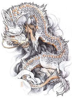 zumi: tattoo sketchbook: 015 by fydbac on DeviantArt Tattoo Sketchbook, Tattoo Drawings, Sketchbook Project, Japanese Dragon Tattoos, Japanese Sleeve Tattoos, Dragon Sketch, Asian Tattoos, Japan Tattoo, Samurai Tattoo