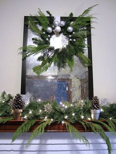 Make a Natural Greenery Wreath with free left over greens. Christmas Arts And Crafts, All Things Christmas, Christmas Holidays, Christmas Decorations, Christmas Arrangements, Country Christmas, Holiday Decorating, Flower Arrangements, Christmas Fireplace