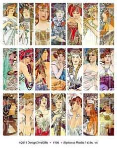 Digital Collage Sheet: Art Nouveau Paintings