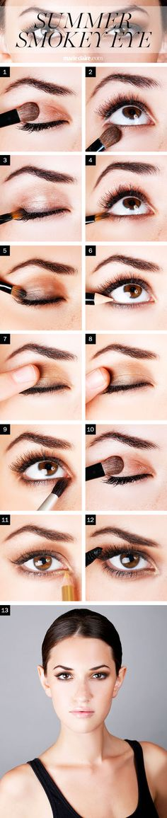 1+2: Bronze shadow, lash line to crease, softly blend the edges, same color underneath lash line 3+4. brown shadow liner 5+6. Make eyes pop. Darken lash line w/ black liner 7. Light shimmer shadow. 8. lightly trace eye, blend in matte shadow.  9+10. Highlight and mascara