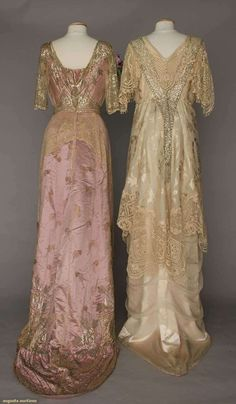 Ball Gowns (image 3) | 1912-1916 | satin brocade, silk charmeuse, sequins, Brussels lace | Augusta Auctions | April 20, 2016/Lot 193