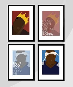 "BIGGIE SMALLS & TUPAC 'Big Poppa' 'Only God Can Judge Me' quote - Mini 6x4"" Posters. Rap Hip-Hop. Set of 2 - Choose Biggie or Tupac"