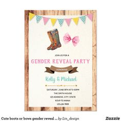 Shop Cute boots or bows gender reveal invitation created by Lin_design. Personalize it with photos & text or purchase as is! Gender Reveal Themes, Gender Reveal Invitations, Baby Shower Gender Reveal, Harry Potter Invitations, Zazzle Invitations, Party Invitations, Invitation Ideas, Shower Party, Baby Shower Parties