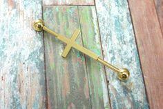 Gold Rosary Cross Industrial Barbell Piercing Upper Ear Ring