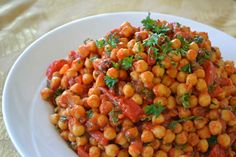 Moroccan Chickpeas with Roasted Peppers, Parsley  Mint