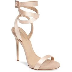 Women's Giuseppe For Jennifer Lopez Leslie Sandal (2.945 BRL) ❤ liked on Polyvore featuring shoes, sandals, heels, sapatos, beige satin, ankle tie sandals, wrap sandals, ankle wrap sandals, tall sandals and embellished sandals