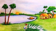 #scenerydrawing #howtodraw #naturalscenerydrawing Easy Nature Drawings, Scenery Drawing For Kids, Love Drawings, Easy Drawings, Scenery Drawing Pencil, Beautiful Scenery Drawing, Scenery Pictures, Pictures To Draw, Landscape Drawings