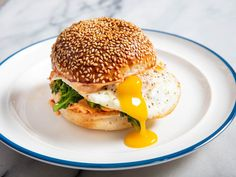 Spicy, tangy 'nduja mayonnaise and garlicky broccoli rabe are the keys to the best breakfast sandwich you've never had before. Spicy, tangy 'nduja mayonnaise and garlicky broccoli rabe are the keys to the best breakfast sandwich you've never had before. Sauteed Broccoli Rabe, Broccoli Rabe Recipe, Best Breakfast Sandwich, Perfect Breakfast, Breakfast Options, Ideas Sándwich, Food Ideas, Caesar Pasta Salads, Caesar Salad