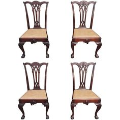 Set of Four American Chippendale Style Mahogany Side Chairs, Circa 1870 | From a unique collection of antique and modern dining room chairs at https://www.1stdibs.com/furniture/seating/dining-room-chairs/