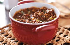 Hearty, delicious chili, minus the beans.