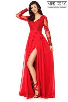 rochie lunga rosie din dantela - rochii de seara lungi