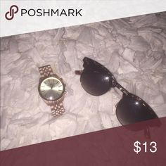 Forever 21 sunglasses and Bershka watch Great condition and super cute. They can adorn any outfit and give it a pop Forever 21 Accessories Sunglasses