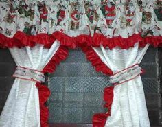Christmas Sewing, Christmas Crafts, Christmas Decorations, Christmas Ornaments, Holiday Decor, Curtains And Draperies, Luxury Curtains, Red Kitchen Curtains, Utility Room Storage
