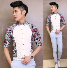 2014 Summer Half Sleeve Shirts Contrast Colour Flower Shirt Slim Asian Model Stylish Clothing $22.88