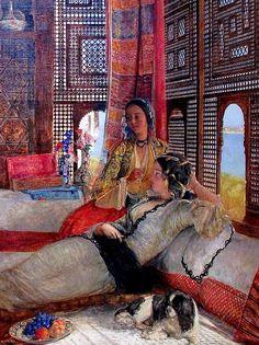 peinture orientaliste : Jean Frederick Lewis, the Harem