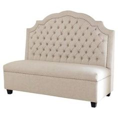 """Showcasing a button-tufted back and nailhead trim, this linen-upholstered settee brings a touch of glamour to your living room or parlor.   Product: SetteeConstruction Material: Birch wood, engineered wood and linenColor: BeigeFeatures:  Button-tuftedArched backNailhead trim19.87"""" Seat heightNon-marking feet Dimensions: 50.5"""" H x 59.88"""" W x 28"""" D"""