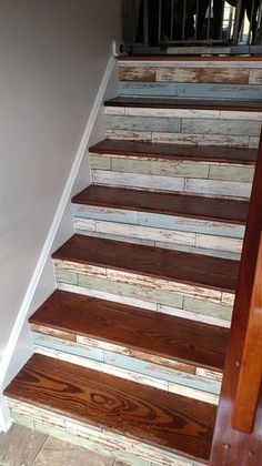 Old Salem NuWallpaper used to line stairs Metal Barn Homes, Metal Building Homes, Pole Barn Homes, Wood Stairs, House Stairs, Basement Steps, Basement Finishing, Pole Barn House Plans, Staircase Makeover