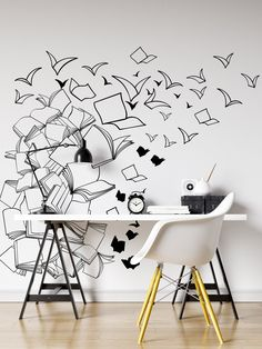 Decal #6261Perfect for the imaginative child's room. Flying books just like Hogwarts Library.Different sizes are available. Email us and we will give you a fair price.Some wall decals may come in multiple pieces due to the size of the design....