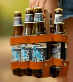 Leather beer carton.