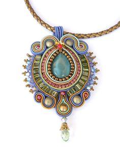 Soutache pendant in light purple blue green gold by MiriamShimon, $85.00