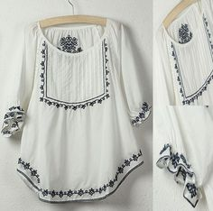 New 2013 Free Shipping vintage 70s mexican Ethnic Floral Embroidery Hippie Blouse t shirt women clothing summer tops S M L