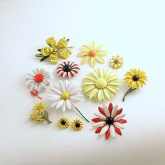 Vintage Enamel Flower Brooch Jewelry Lot by efinegifts on Etsy