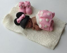 MINNIE MOUSE BABY Shower Fondant Cake Topper Baby Booties and quilt on Etsy, $35.00