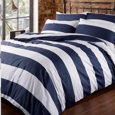 Louisiana Horizontal Navy & White Stripe Duvet Cover Set 100% Cotton 200 Thread